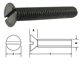 1/8 BSW X 3/4 STEEL SLOT COUNTERSUNK SCREWS SELF-COLOUR